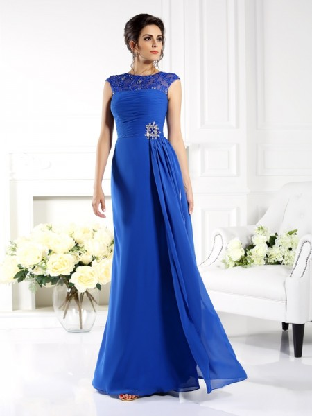 Fashion A-Line/Princess Applique Sleeveless Bateau Long Chiffon Mother of the Bride Dresses