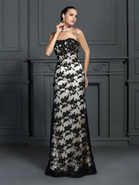 Fashion Sheath/Column Lace Sleeveless Strapless Long Elastic Woven Satin Dresses