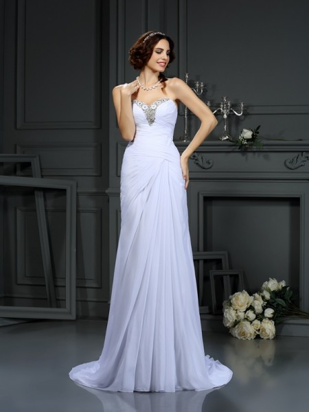 Stylish Sheath/Column Beading Sleeveless Sweetheart Long Chiffon Wedding Dresses