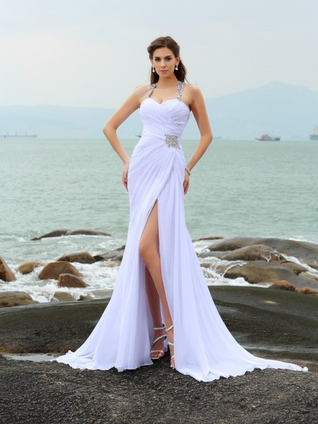 Stylish Sheath/Column Beading Sleeveless Straps Long Chiffon Beach Wedding Dresses