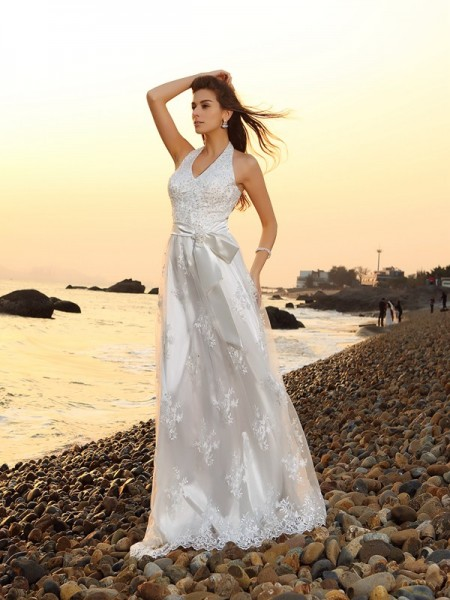 Fashion A-Line/Princess Sash/Ribbon/Belt Sleeveless Halter Long Lace Beach Wedding Dresses