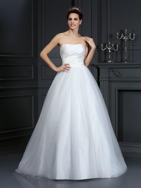 Fashion Ball Gown Pleats Sleeveless Strapless Long Taffeta Wedding Dresses