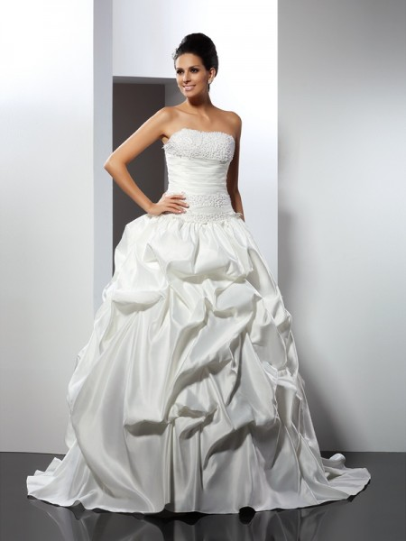 Fashion Ball Gown Sleeveless Long Strapless Satin Wedding Dresses