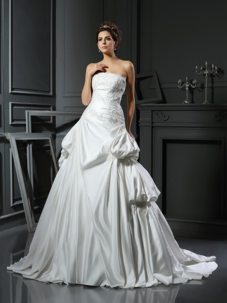Fashion Ball Gown Applique Sleeveless Strapless Long Satin Wedding Dresses