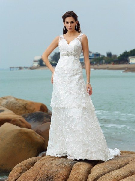 Stylish A-Line/Princess Applique Sleeveless Straps Long Satin Beach Wedding Dresses