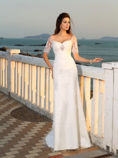 Fashion Sheath/Column Applique Short Sleeves Sweetheart Long Satin Beach Wedding Dresses