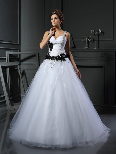 Stylish Ball Gown Beading Sleeveless Straps Long Tulle Wedding Dresses