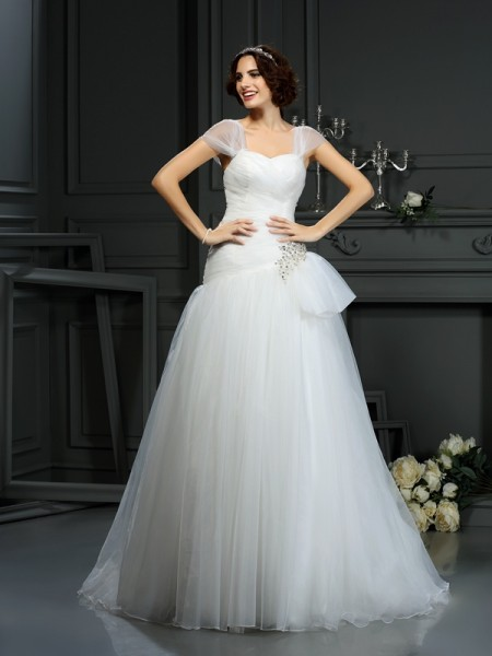 Fashion A-Line/Princess Beading Sleeveless Sweetheart Long Organza Wedding Dresses