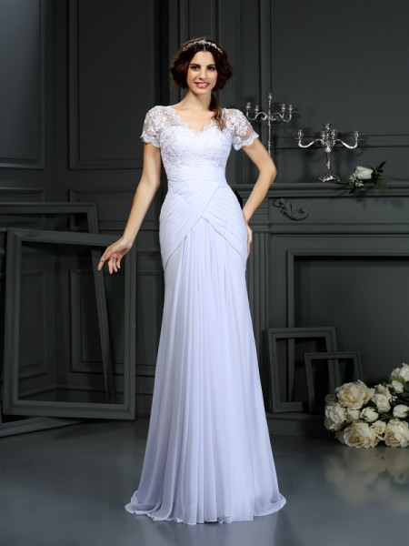Stylish Sheath/Column Lace Short Sleeves V-neck Long Chiffon Wedding Dresses