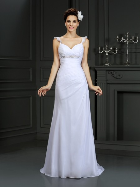 Stylish Trumpet/Mermaid Beading Sleeveless Straps Long Chiffon Wedding Dresses
