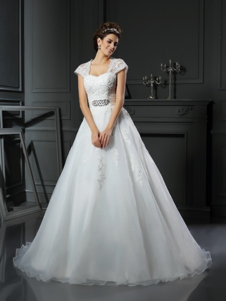 Stylish Ball Gown Beading Sleeveless Square Long Organza Wedding Dresses