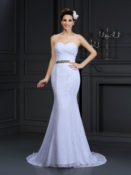 Fashion Trumpet/Mermaid Sleeveless Long Sweetheart Lace Wedding Dresses