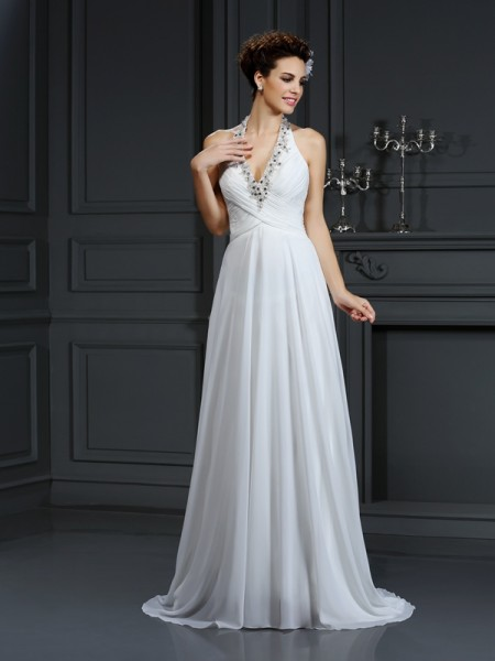 Stylish A-Line/Princess Beading Sleeveless Halter Long Chiffon Wedding Dresses