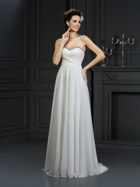 Fashion A-Line/Princess Ruffles Sleeveless Sweetheart Long Chiffon Wedding Dresses