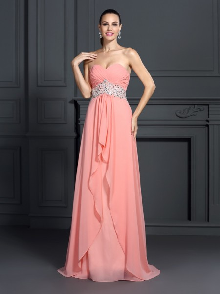 Stylish A-Line/Princess Ruffles Sleeveless Sweetheart Long Chiffon Dresses