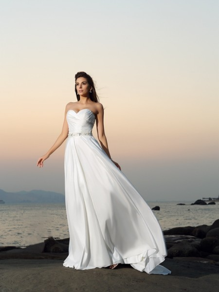 Fashion A-Line/Princess Beading Sleeveless Sweetheart Long Taffeta Beach Wedding Dresses