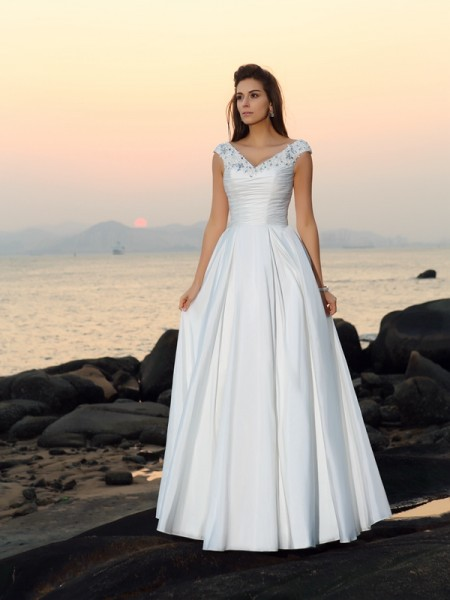 Stylish A-Line/Princess Beading Sleeveless V-neck Long Taffeta Beach Wedding Dresses
