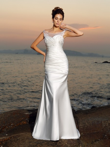 Fashion Trumpet/Mermaid Beading Sleeveless Scoop Long Satin Beach Wedding Dresses