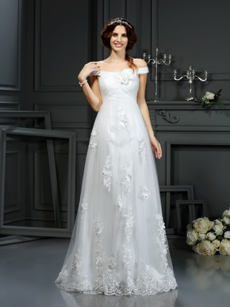 Stylish A-Line/Princess Applique Sleeveless Off-the-Shoulder Long Net Wedding Dresses