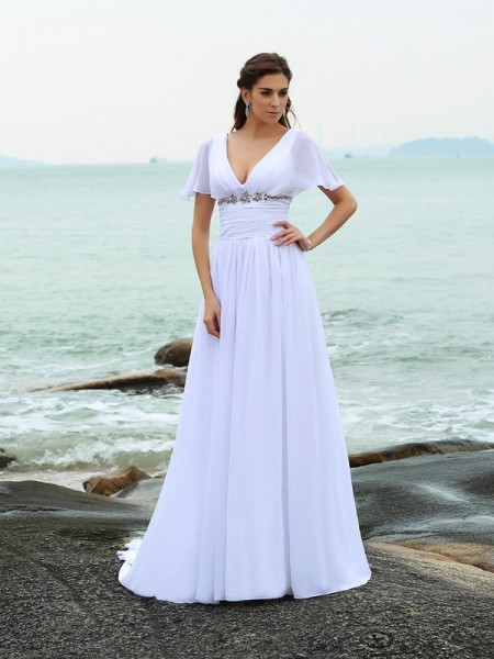 Stylish A-Line/Princess Ruffles Short Sleeves V-neck Long Chiffon Beach Wedding Dresses
