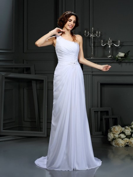 Fashion A-Line/Princess Pleats Sleeveless One-Shoulder Long Chiffon Wedding Dresses