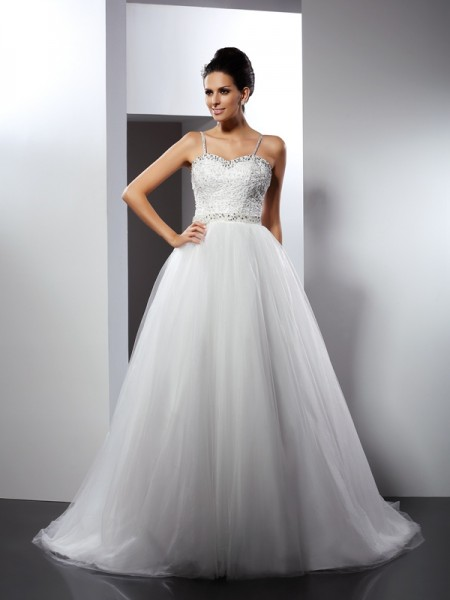 Stylish A-Line/Princess Straps Beading Spaghetti Sleeveless Long Tulle Wedding Dresses