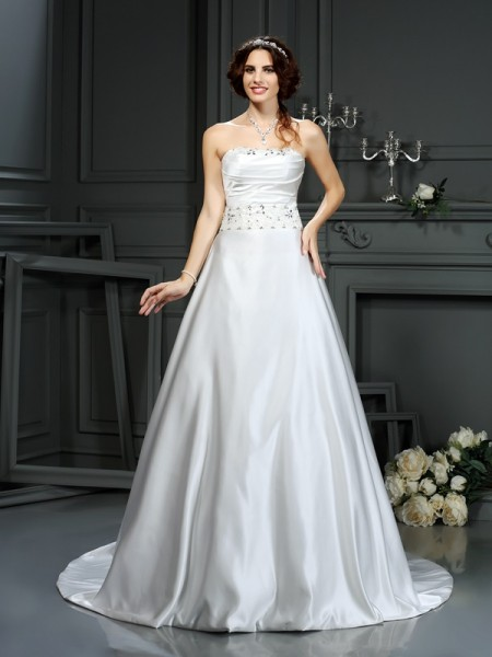 Fashion A-Line/Princess Beading Sleeveless Strapless Long Satin Wedding Dresses