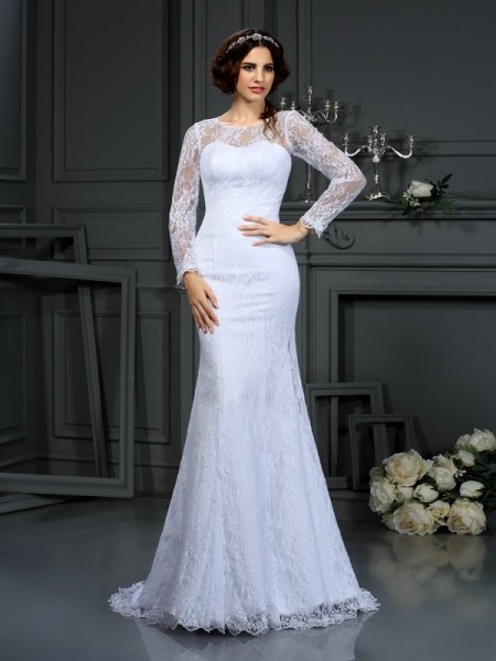 Stylish Sheath/Column Lace Long Sleeves Scoop Long Satin Wedding Dresses