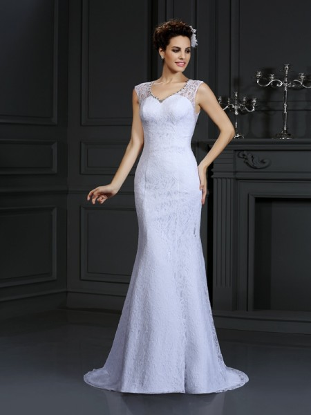 Stylish Sheath/Column Lace Sleeveless V-neck Long Satin Wedding Dresses