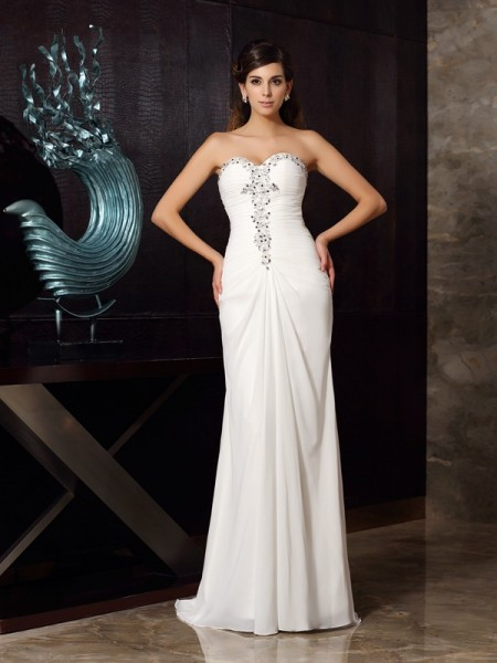 Fashion Trumpet/Mermaid Beading Sleeveless Sweetheart Long Chiffon Dresses