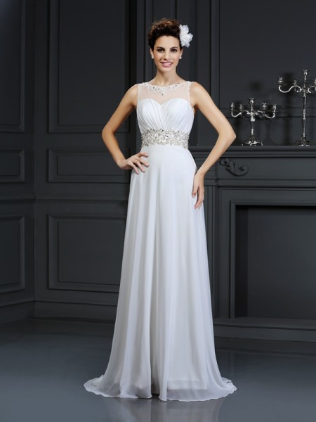 Stylish A-Line/Princess Ruffles Sleeveless Bateau Long Chiffon Wedding Dresses