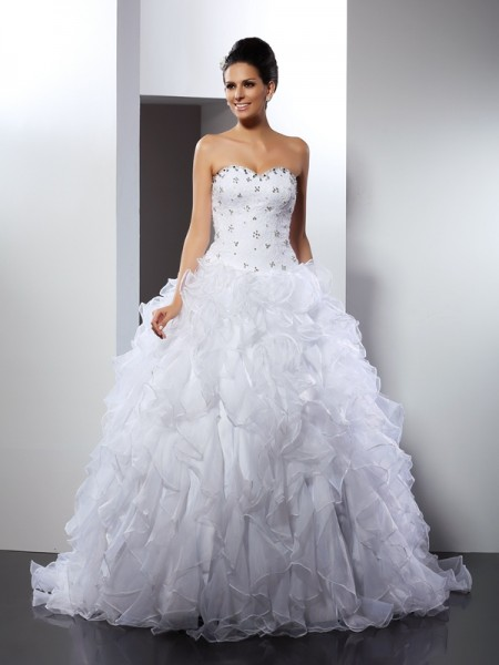 Fashion Ball Gown Ruffles Sleeveless Sweetheart Long Satin Wedding Dresses