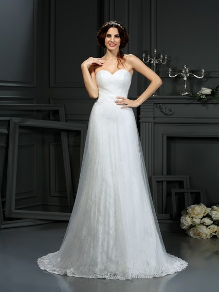 Fashion A-Line/Princess Pleats Sleeveless Sweetheart Long Net Wedding Dresses