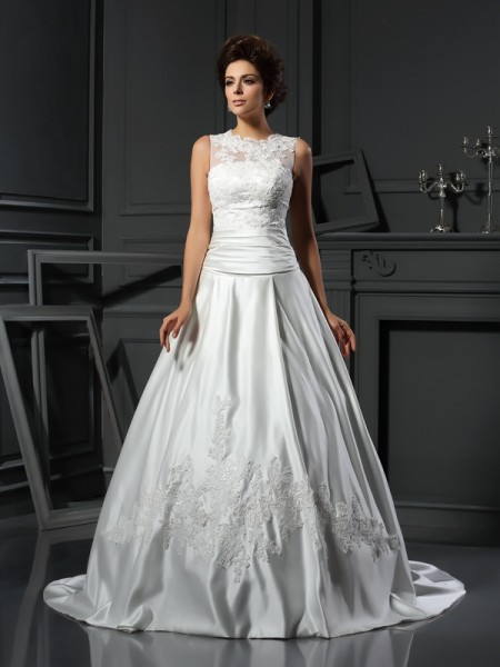 Fashion A-Line/Princess Applique Sleeveless High Neck Long Satin Wedding Dresses