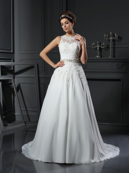 Fashion A-Line/Princess Beading Sleeveless High Neck Long Satin Wedding Dresses