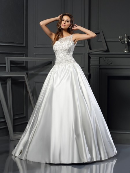 Stylish Ball Gown Applique Sleeveless Scoop Long Satin Wedding Dresses
