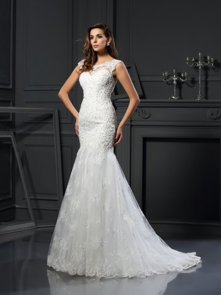 Fashion Trumpet/Mermaid Applique Short Sleeves Scoop Long Tulle Wedding Dresses