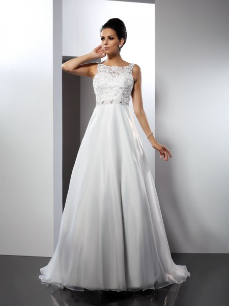 Fashion A-Line/Princess Ruffles Sleeveless Scoop Long Satin Wedding Dresses
