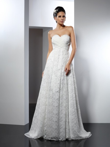 Stylish A-Line/Princess Sleeveless Long Sweetheart Satin Wedding Dresses