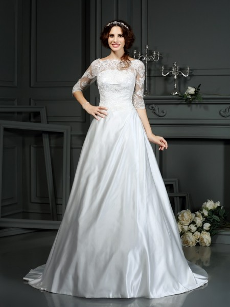 Fashion A-Line/Princess Lace 1/2 Sleeves Bateau Long Satin Wedding Dresses