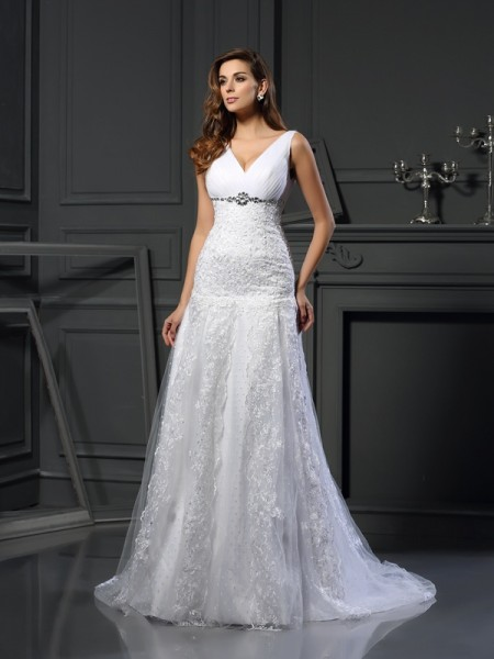Stylish A-Line/Princess Beading Sleeveless V-neck Long Satin Wedding Dresses