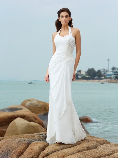 Stylish Sheath/Column Pleats Sleeveless Halter Long Chiffon Beach Wedding Dresses