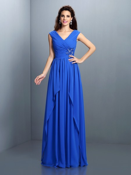 Stylish A-Line/Princess Beading Pleats V-neck Sleeveless Long Chiffon Dresses