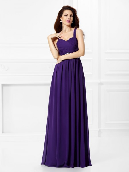 Fashion A-Line/Princess Beading Pleats Sweetheart Sleeveless Long Chiffon Dresses