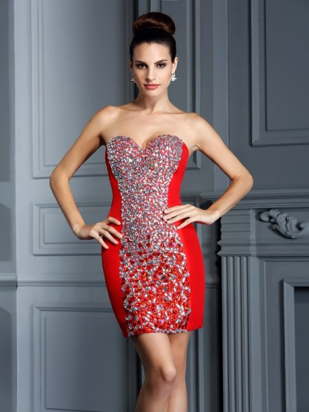 Stylish Sheath/Column Embroidery Sleeveless Sweetheart Short Taffeta Cocktail Dresses