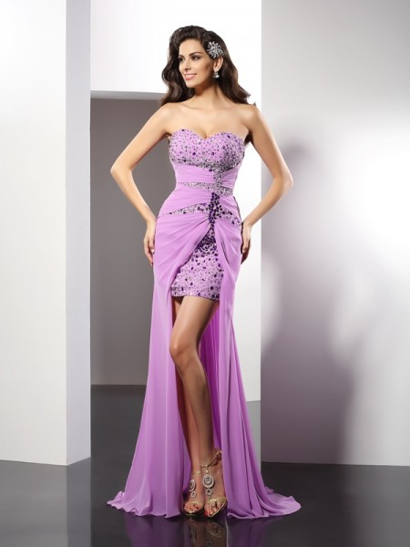 Fashion Sheath/Column Beading Sleeveless Sweetheart Long Silk like Satin Dresses