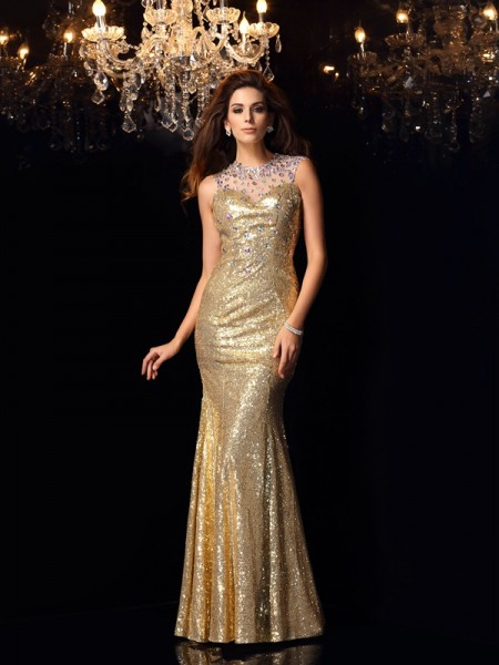 Fashion Trumpet/Mermaid Sleeveless Long High Neck Sequins Dresses