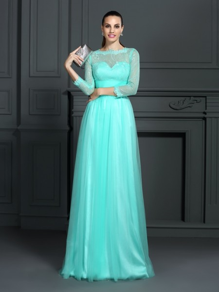 Fashion A-Line/Princess Lace 3/4 Sleeves Bateau Long Elastic Woven Satin Dresses