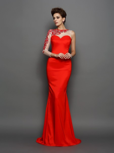 Stylish Trumpet/Mermaid Embroidery Long Sleeves High Neck Long Elastic Woven Satin Dresses