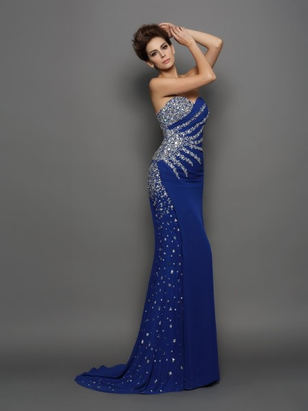 Fashion Trumpet/Mermaid Rhinestone Sleeveless Sweetheart Long Chiffon Dresses